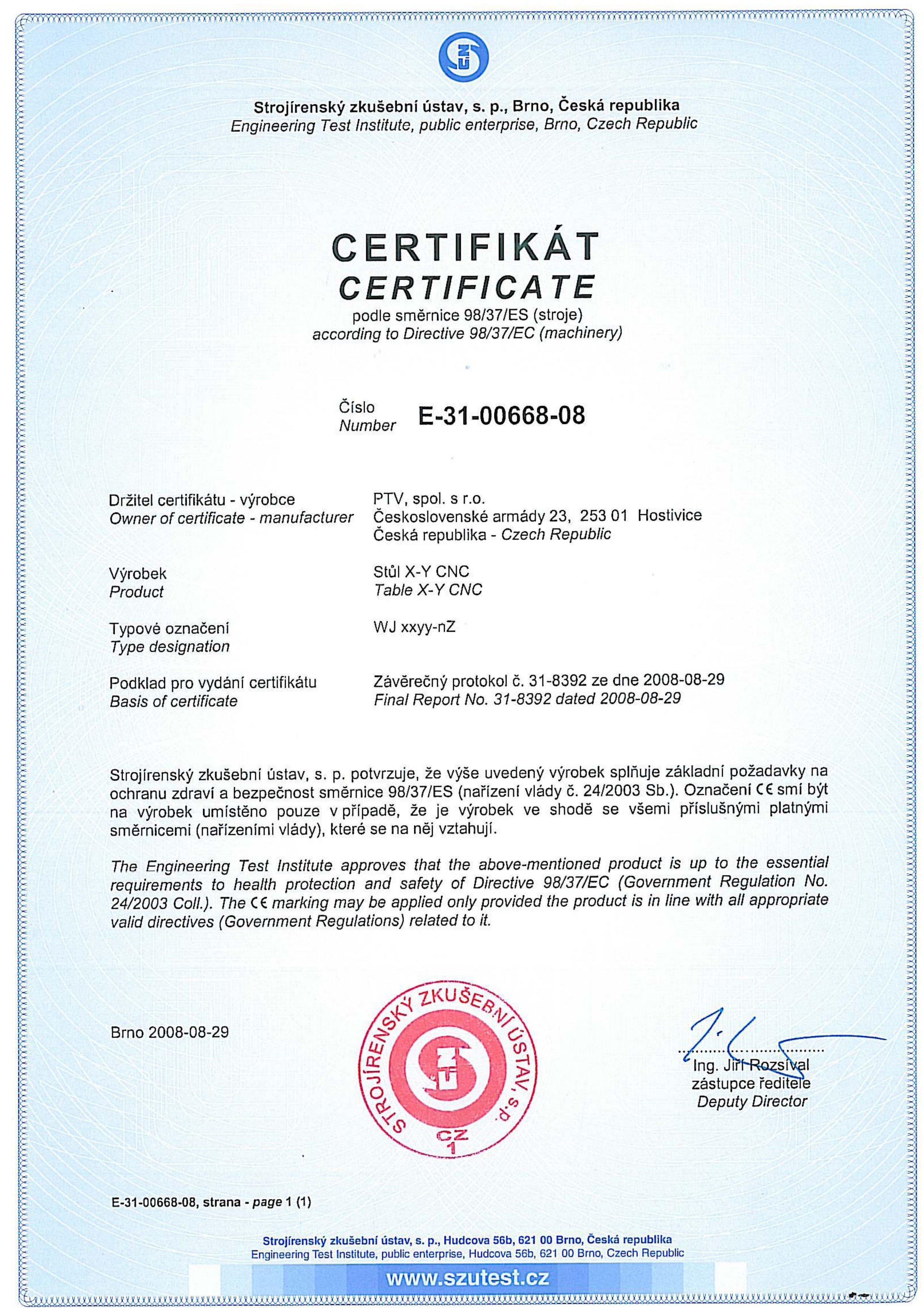 Certificates Ptv Water Jet Cutting Water Jet